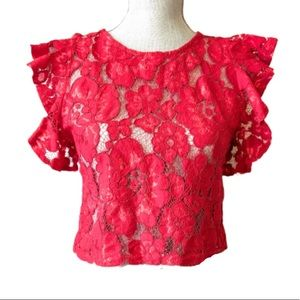 2/$25💞 another story floral red lace crop top